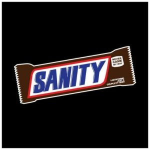 Wolfman's Cousin Sanity snickers sticker