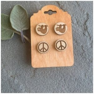 Sloth and peace sign earrings made by Woodstone earrings