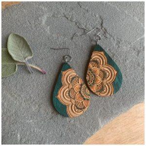 Mandala earrings by Woodstone Earrings