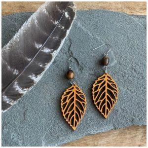 Wood feather earrings by Woodstone Earrings