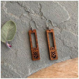 Wood carved earrings by Woodstone Earrings